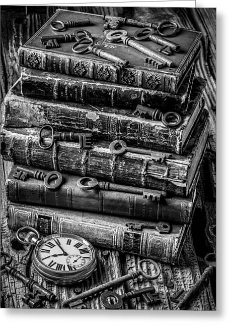 Wooden Table Greeting Cards - Books And Keys Black and White Greeting Card by Garry Gay
