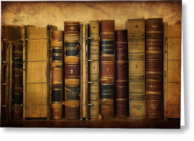 Ledger; Book Digital Art Greeting Cards - Books and Ledgers Greeting Card by Priscilla Burgers