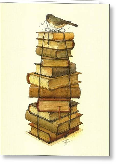 Book Greeting Cards - Books and little Bird Greeting Card by Kestutis Kasparavicius