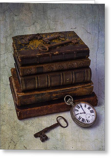 Library Greeting Cards - Books And Old Watch Greeting Card by Garry Gay