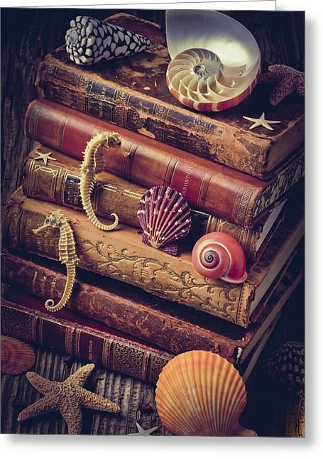 Concept Photographs Greeting Cards - Books and sea shells Greeting Card by Garry Gay