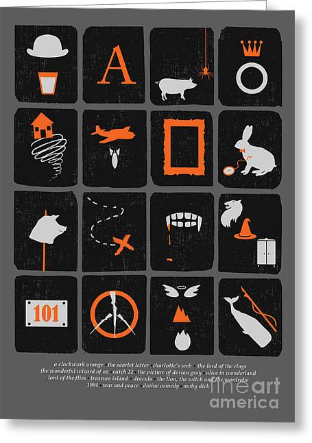 Orange Greeting Cards - Books Are Good for You Greeting Card by Budi Satria Kwan