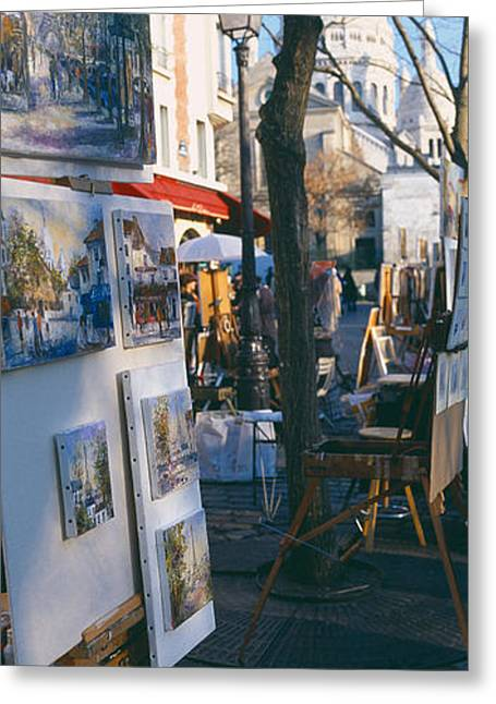 Retail Art Greeting Cards - Books At A Stall With Basilique Du Greeting Card by Panoramic Images