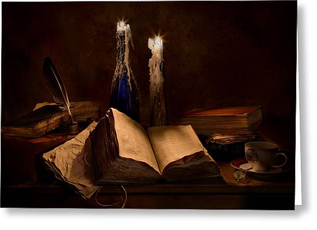 Wine Holder Photographs Greeting Cards - Books Candles and Coffee Cup Greeting Card by Mary Tomaino
