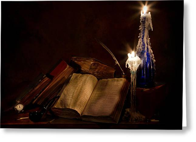 Wine Holder Photographs Greeting Cards - Books Candles and Proverbs Greeting Card by Mary Tomaino