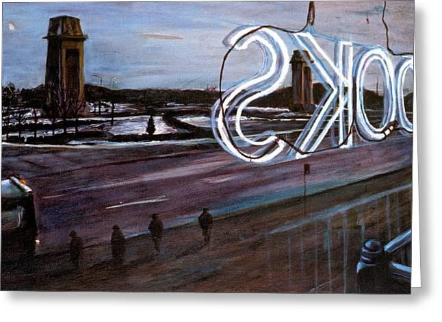 Film Noir Paintings Greeting Cards - Books Greeting Card by Christopher Buoscio