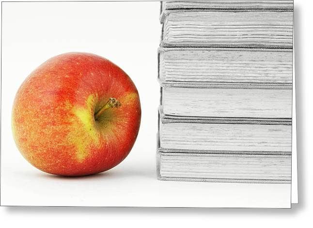 Back To Life Greeting Cards - Books with Apple Greeting Card by Chevy Fleet