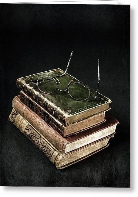 Book Greeting Cards - Books With Glasses Greeting Card by Joana Kruse