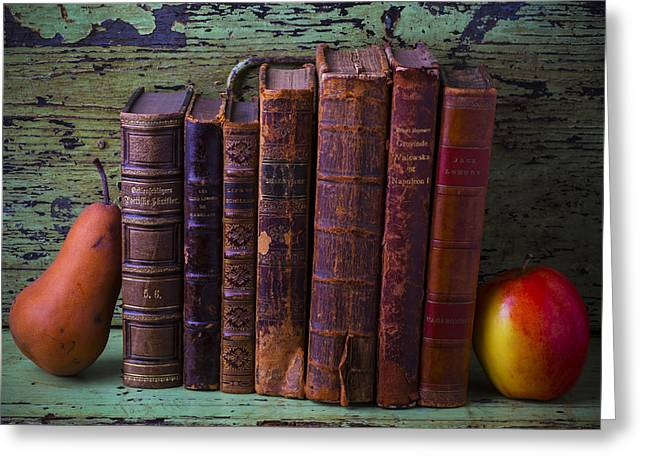 Library Greeting Cards - Books with pear and apple Greeting Card by Garry Gay