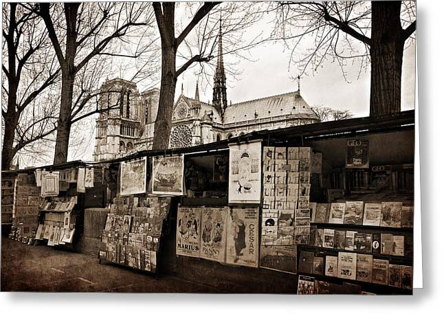 Montebello Greeting Cards - Booksellers by the Seine in Paris Greeting Card by Barry O Carroll