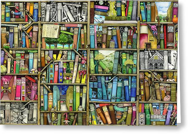 Book Illustrations Greeting Cards - Bookshelf Greeting Card by Colin Thompson