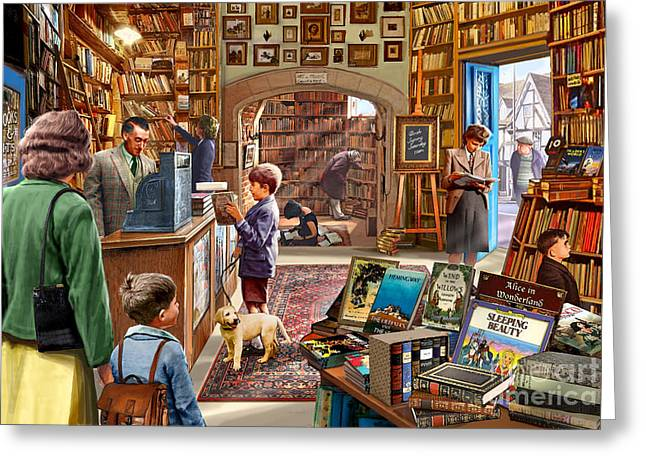 Writings Greeting Cards - Bookshop Greeting Card by Steve Crisp