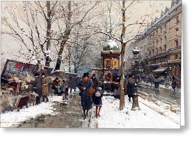 City Street Scene Greeting Cards - Bookstalls in Winter Paris Greeting Card by Eugene Galien-Laloue
