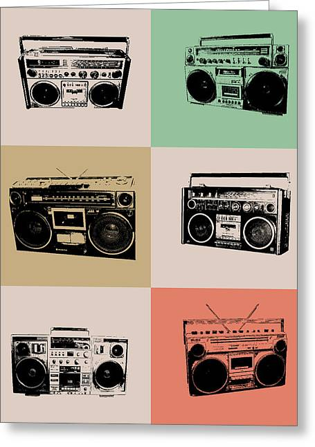 Humor Greeting Cards - Boom Box Poster Greeting Card by Naxart Studio