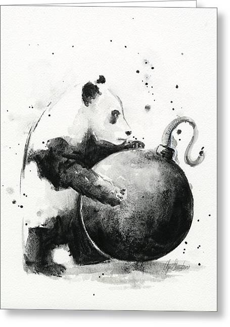 Bombed Greeting Cards - Boom Panda Greeting Card by Olga Shvartsur