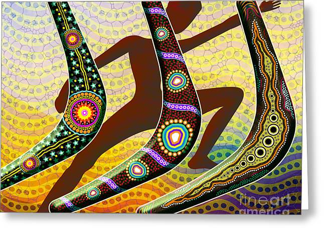 Aboriginal Mixed Media Greeting Cards - Boomerang 2 Greeting Card by Bedros Awak