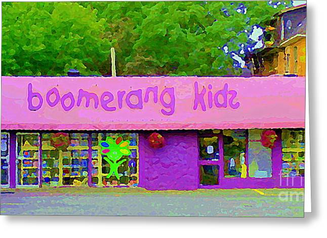 Toy Store Paintings Greeting Cards - Boomerang Kids Baby Store Kiddies Clothing Consignment Shop The Glebe Paintings Of Ottawa C Spandau Greeting Card by Carole Spandau