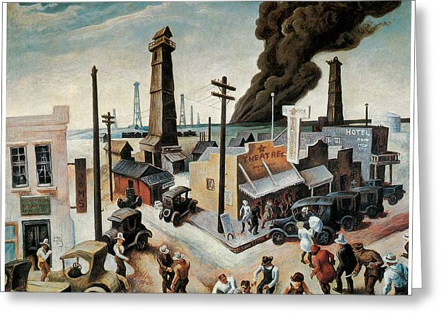 Harts Paintings Greeting Cards - Boomtown Greeting Card by Thomas Hart Benton