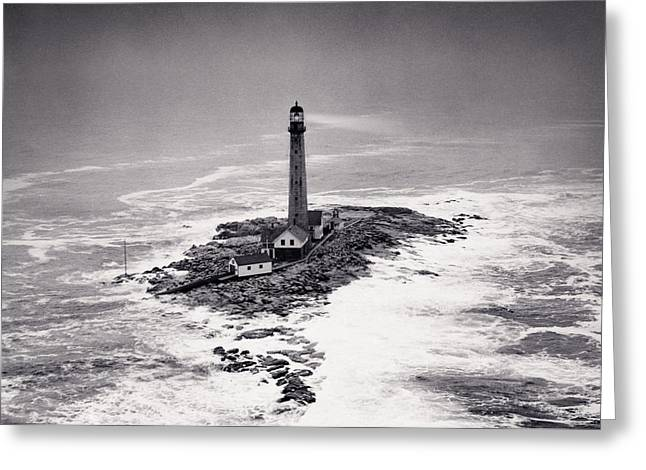 Black History Greeting Cards - Boon Island Light Tower circa 1950 Greeting Card by Aged Pixel