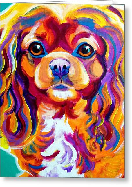 Alicia Vannoy Call Paintings Greeting Cards - King Charles - Boonda Greeting Card by Alicia VanNoy Call