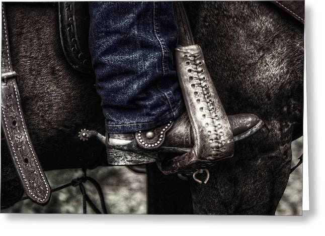 Straps Greeting Cards - Boot and Saddle and Jeans Greeting Card by Greg and Chrystal Mimbs