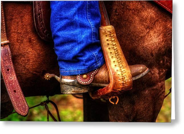Straps Greeting Cards - Boot and Saddle Greeting Card by Greg Mimbs