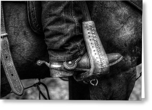 Straps Greeting Cards - Boot and Saddle in Black and White Greeting Card by Greg and Chrystal Mimbs