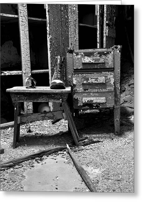 Bench Prison Greeting Cards - Boot in Prison Greeting Card by Ana Palas