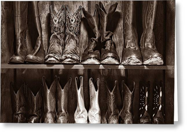 Black Boots Greeting Cards - Boot Rack Greeting Card by American West Legend By Olivier Le Queinec