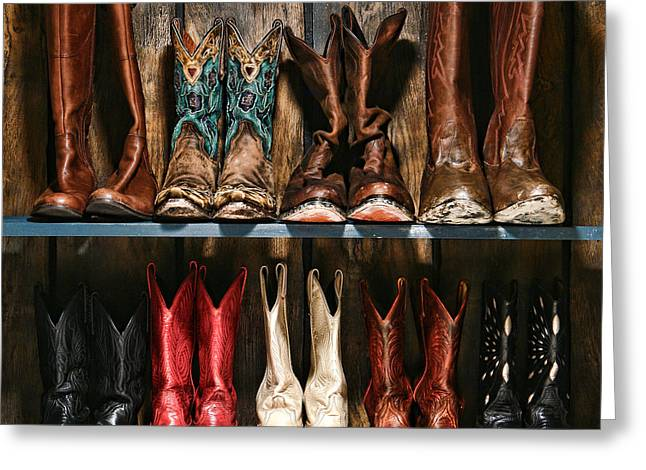 Straight Greeting Cards - Boot Rack Greeting Card by Olivier Le Queinec