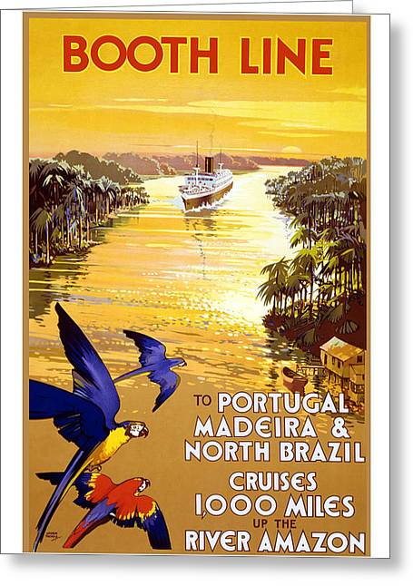 Portugal Paintings Greeting Cards - Booth Line Travel Poster Greeting Card by Unknown