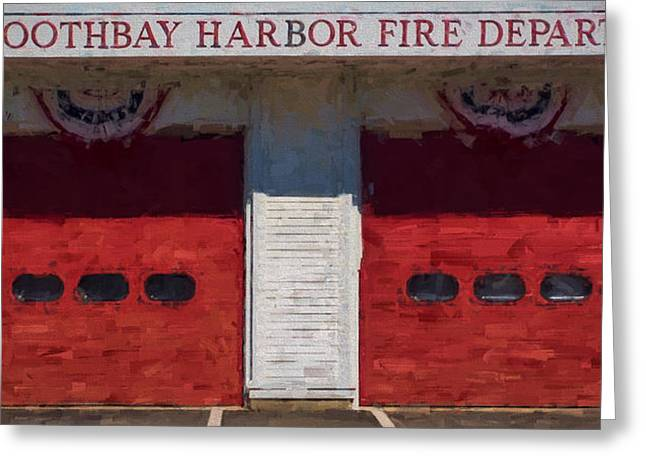 Photos With Red Greeting Cards - Boothbay Harbor Fire Department Greeting Card by Martin Belan