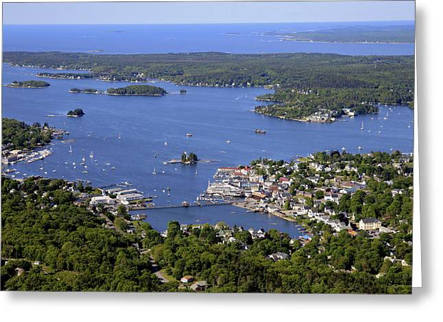 Boothbay Harbor Greeting Cards - Boothbay Harbor From The North Greeting Card by Dave Cleaveland