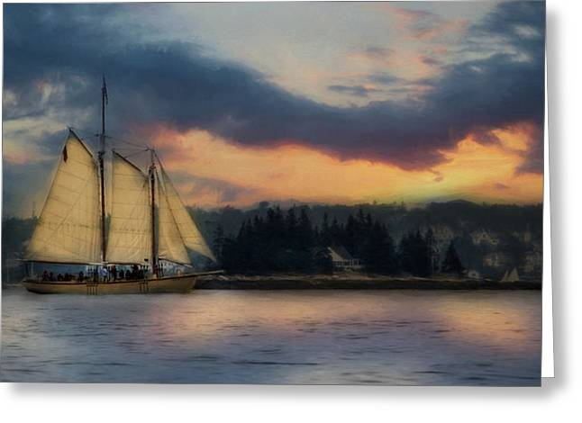 Schooner Digital Greeting Cards - Boothbay Harbor Schooner Greeting Card by Lori Deiter