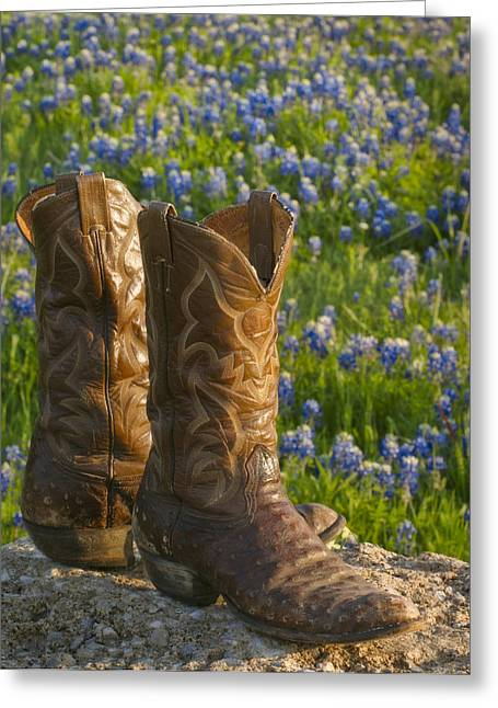 Texas Boots Greeting Cards - Boots and Bluebonnets Greeting Card by David and Carol Kelly
