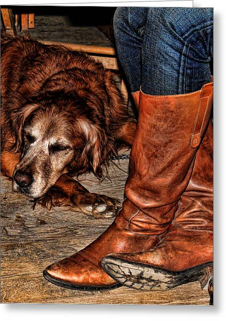 Historic Country Store Greeting Cards - Boots and Buddy Greeting Card by Judy Vincent