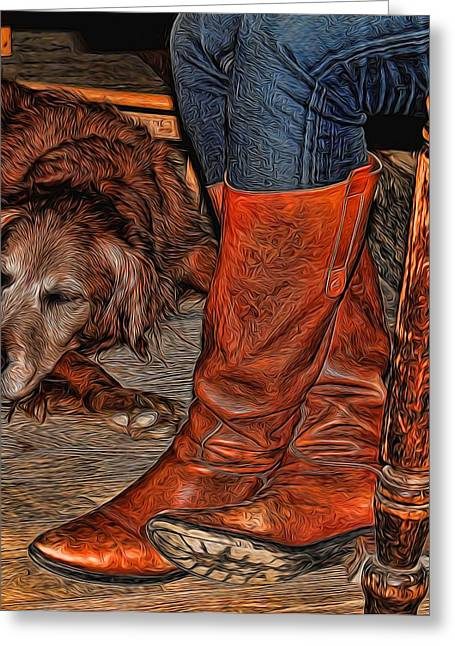 Historic Country Store Digital Art Greeting Cards - Boots and Buddy Painted Greeting Card by Judy Vincent