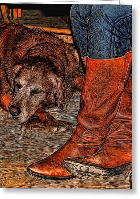 Historic Country Store Greeting Cards - Boots and Buddy Painted Greeting Card by Judy Vincent