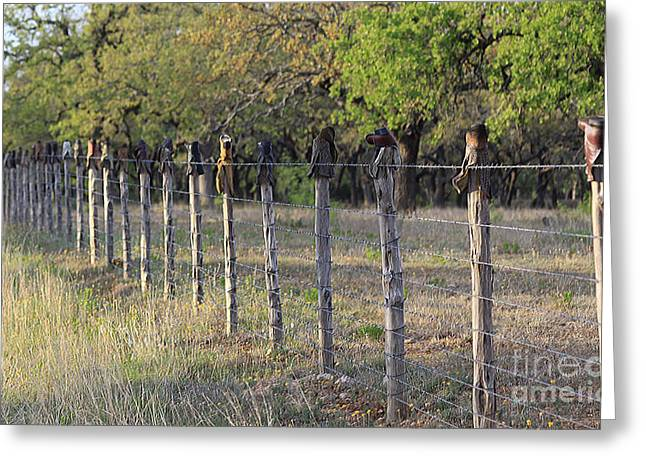 Texas Boots Greeting Cards - Boots and Fence Post Greeting Card by Gayle Johnson