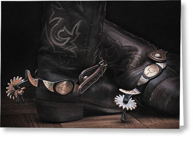 Quality Pyrography Greeting Cards - Boots and Spurs Greeting Card by Krasimir Tolev