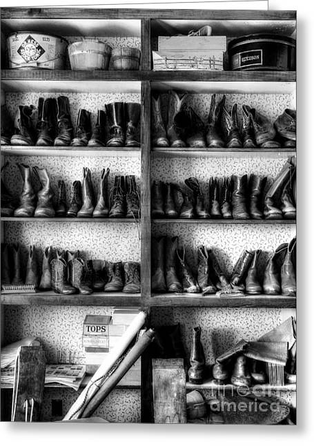 Western Boots Greeting Cards - Boots And Stuff BW Greeting Card by Mel Steinhauer