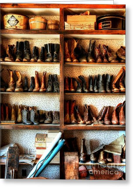 Western Boots Greeting Cards - Boots And Stuff Greeting Card by Mel Steinhauer
