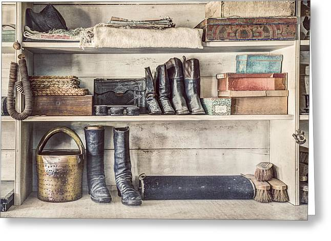 Hat Box Greeting Cards - Boots and Things - Old General Store Greeting Card by Gary Heller