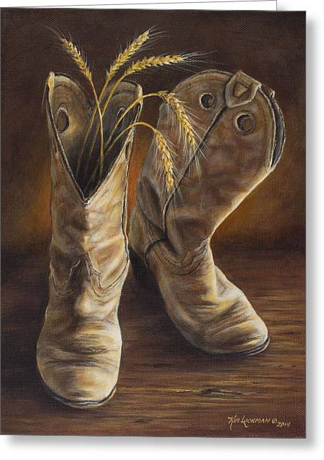 Old Boot Greeting Cards - Boots and Wheat Greeting Card by Kim Lockman