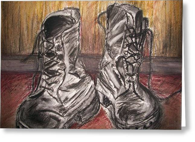Burgundy Pastels Greeting Cards - Boots in the Hall way Greeting Card by Teresa White