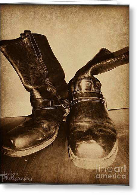 Old Western Photos Digital Art Greeting Cards - Boots Greeting Card by Meagan Hoelzer