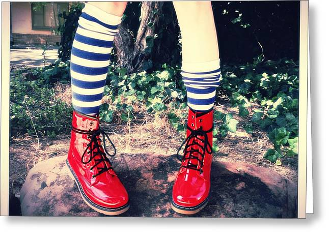 Red Shoe Greeting Cards - Boots Of Glory Greeting Card by Kelly Jade King