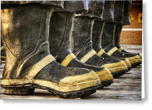 Fireman Boots Greeting Cards - Boots on the Ground Greeting Card by Joan Carroll