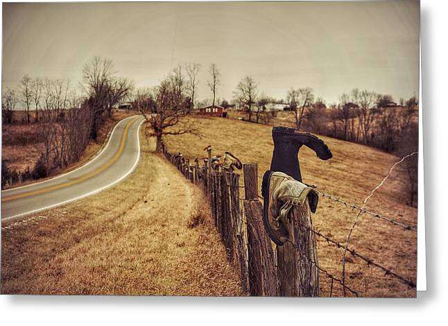 Boots Digital Art Greeting Cards - Boots on the Posts Greeting Card by Lisa Sullivan