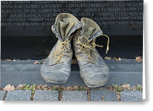 Bravery Greeting Cards - Boots On The Wall Greeting Card by Howard Tenke